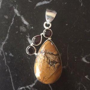 Garnet Mookaite Silver Handmade Pendant